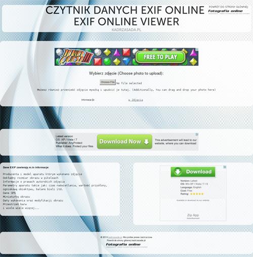 Czytnik danych EXIF online