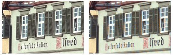 Przykład rozmycia szczegółów obrazu spowodowane algorytmem demosaicingu (po prawej stronie)
