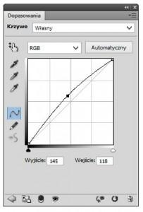 Kształt krzywej korekcji w Photoshopie pozwalający na zwiększenie jasności obrazu